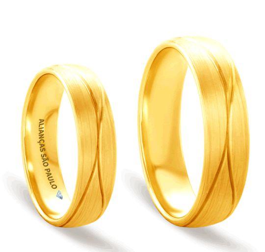 Alianças Casamento Ouro Acabamento Fosco 6mm - A140