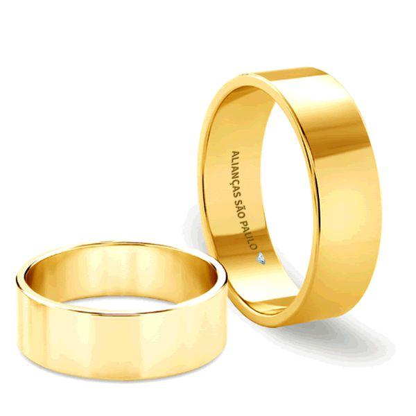 Alianças Casamento Ouro Quadrada 7mm - A142