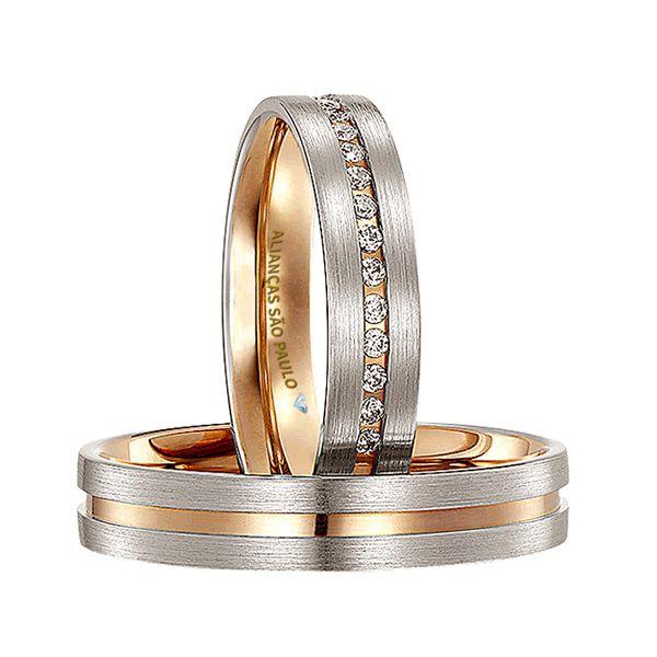 Alianças Casamento Ouro Branco com Zircônias 6mm - A070