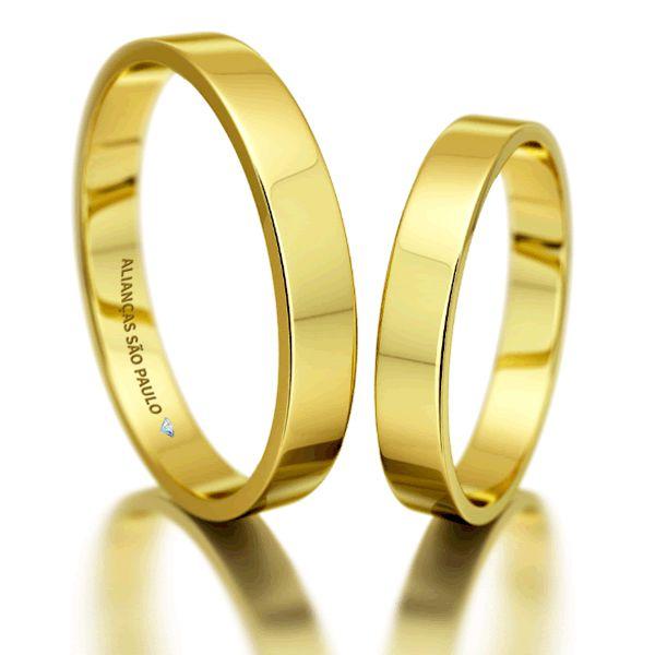 Alianças Casamento Noivado Baratas Ouro Quadradas 4mm - A074