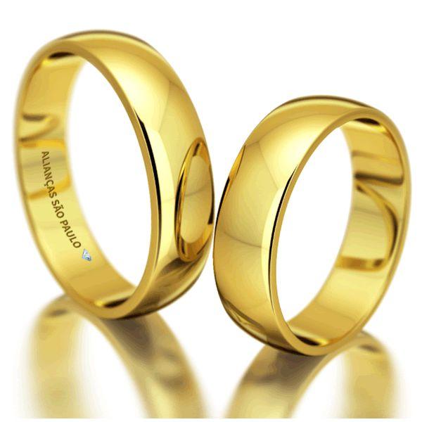 Alianças Casamento Ouro Lisas Tradicionais 5,5mm - A078