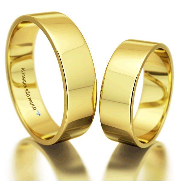 Alianças Casamento Ouro Quadradas Acabamento Liso 7,5mm - A080
