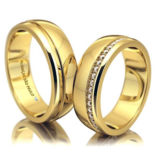 Alianças Casamento Ouro com Zircônia White 7mm - A082