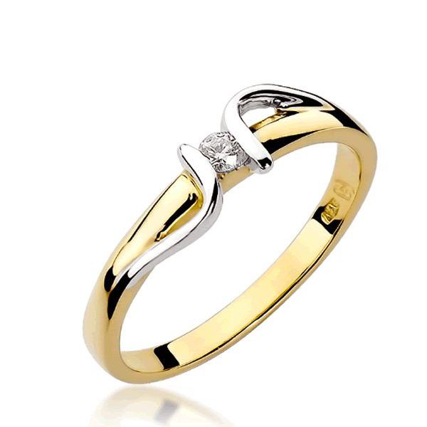 Anel Noivado Ouro Branco e Amarelo com Diamante 2mm - A228