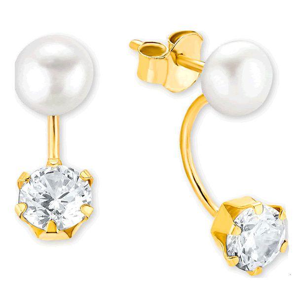 Brincos Ouro 18k com Pérolas e Diamantes - A262