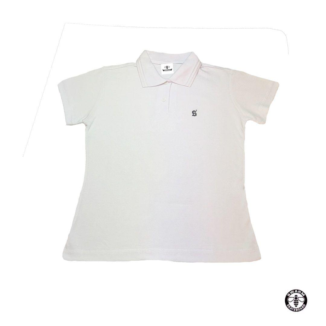 50b1e9226e Camiseta Polo Feminino Branca - Swarm Skateboard