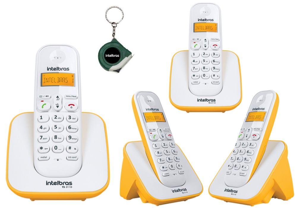 79289ef39 Kit Aparelho Telefone Fixo sem fio Dect TS 3110 Com 3 Ramal - CLT Shop
