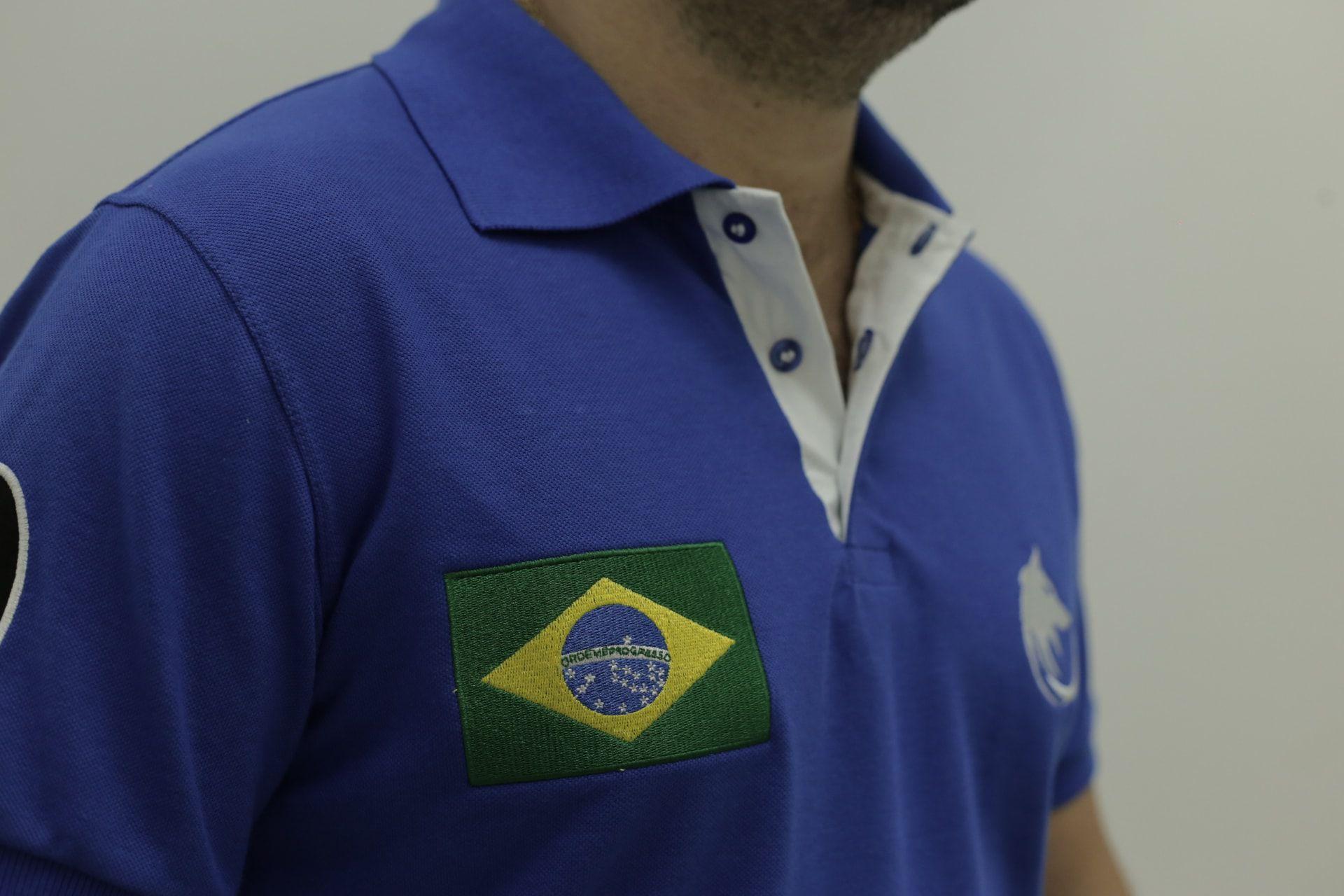 8e65d9c46ad5b Camisa Polo Brasil Lobo Cekock Azul Royal - Cekock A Marca do Lobo