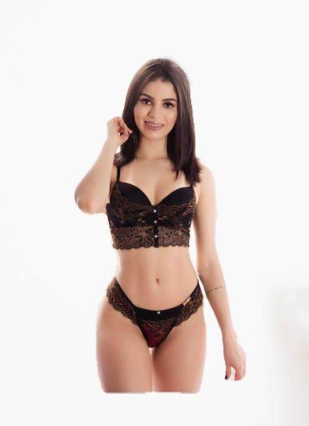 36938144a Conjunto Cropped Luxo em renda antialérgico Milla - Milla Underwear