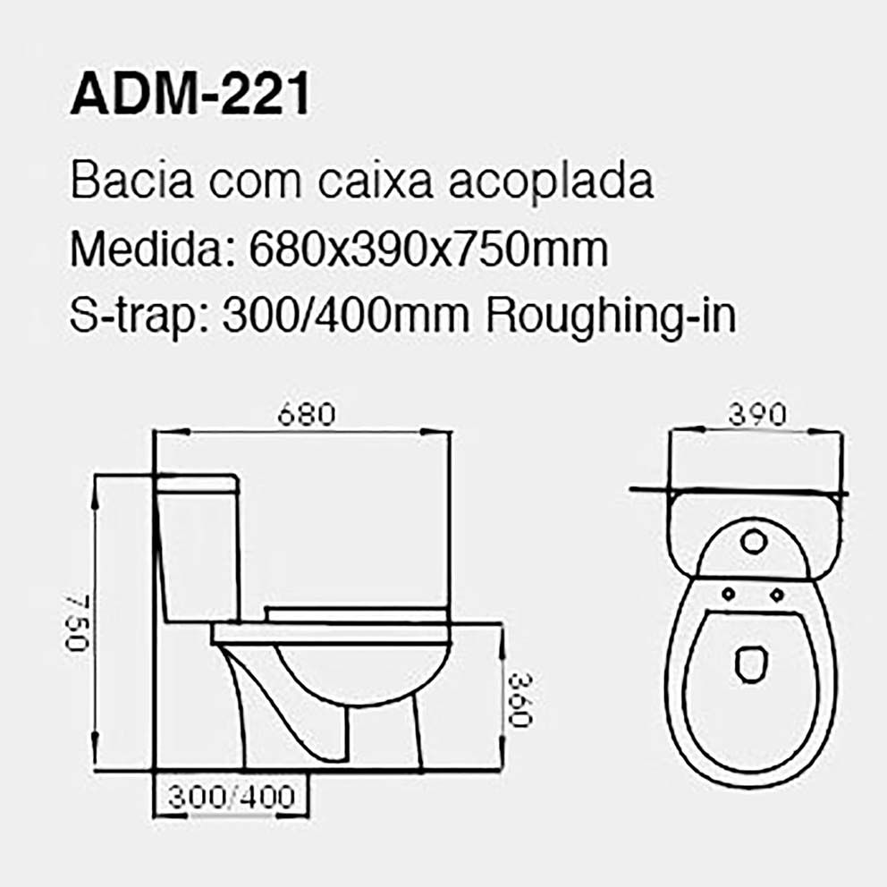 VASO SANITÁRIO CAIXA ACOPLADA ADAMAS ADM-221
