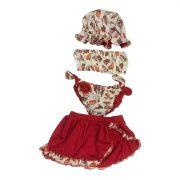 Biquíni Com saia vermelha e Chapéu estampa cream