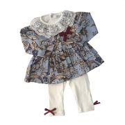 Conjunto Calça E Blusa Estampa Cachimi Com Laço Vermelho