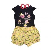 Conjunto Camiseta Azul Marinho De Passarinhos E Short Amarelo Floral