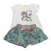 Conjunto Camiseta E Short Com Laço Rosa E Estampa Bicicletas