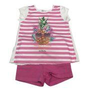 Conjunto Camiseta Listrada Com Estampa De Abacaxi E Short Pink
