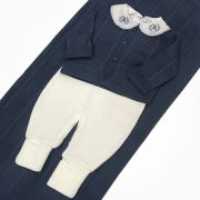 Conjunto Com 3 Peças Macacão Casaquinho e Manta Azul e Branco