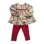 Conjunto Legging Na Cor Vermelha Blusa Com Estampa De Bolas Colorida