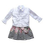 Conjunto Saia Listrada florida com camisa branca manga longa