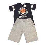 Conjunto Shorts E Camiseta Campeão De Basketball