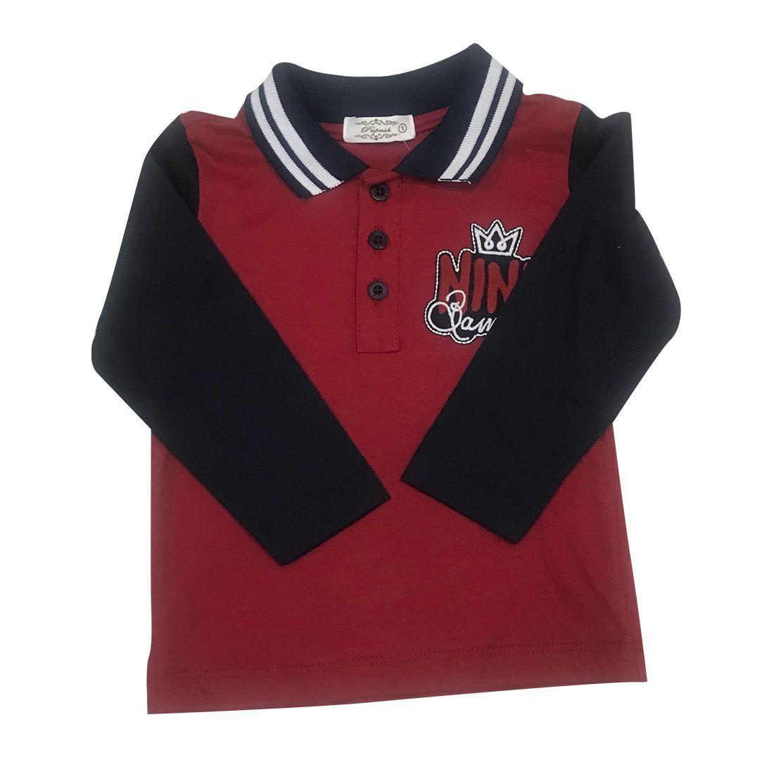 Camiseta Polo Vermelha Com Mangas Azul Marinho