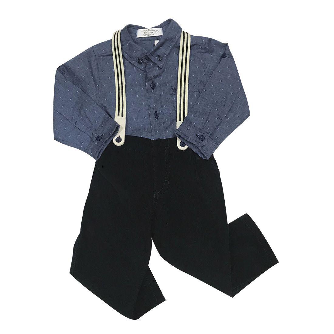 Conjunto Calça de Veludo Camisa e Suspensório