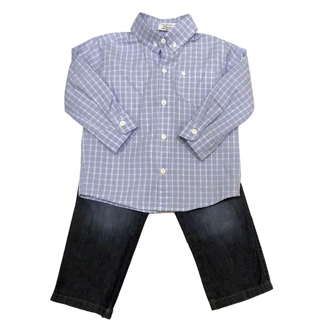 Conjunto Camisa Quadriculada E Calça Jeans Com Cinto