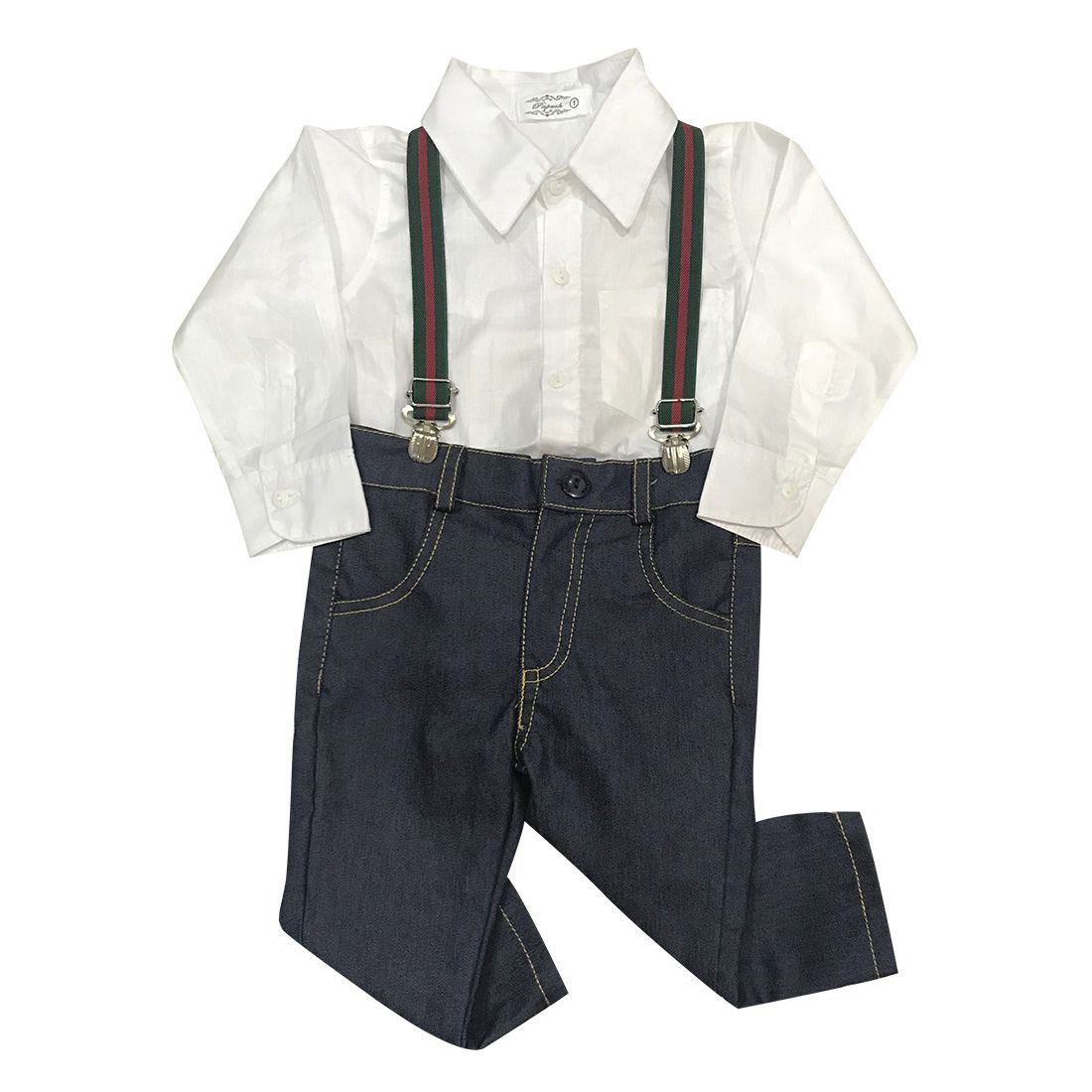 Conjunto Camisa Social Branca E Calça Com Suspensório