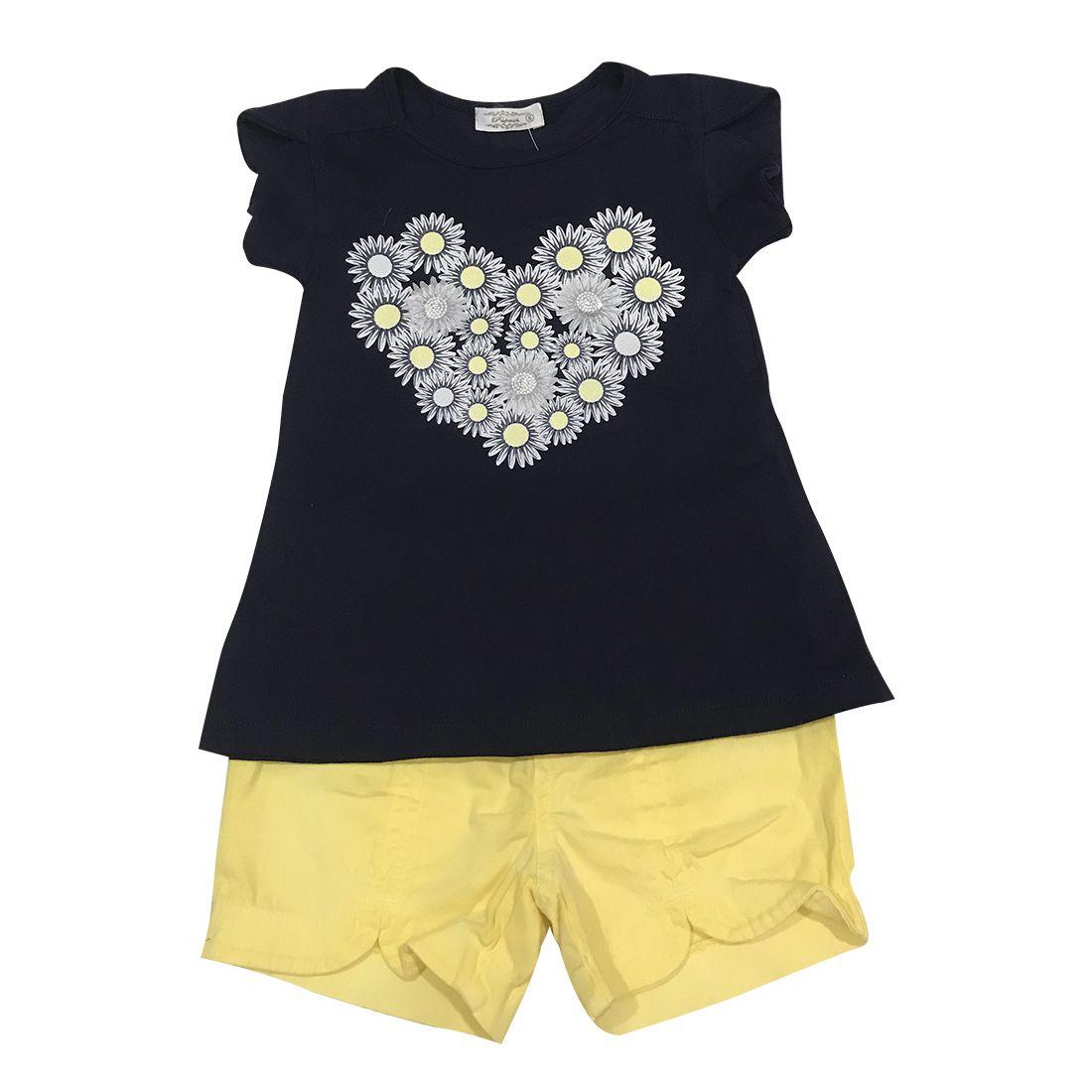 Conjunto Camiseta E Short Floral Azul Marinho E Amarelo