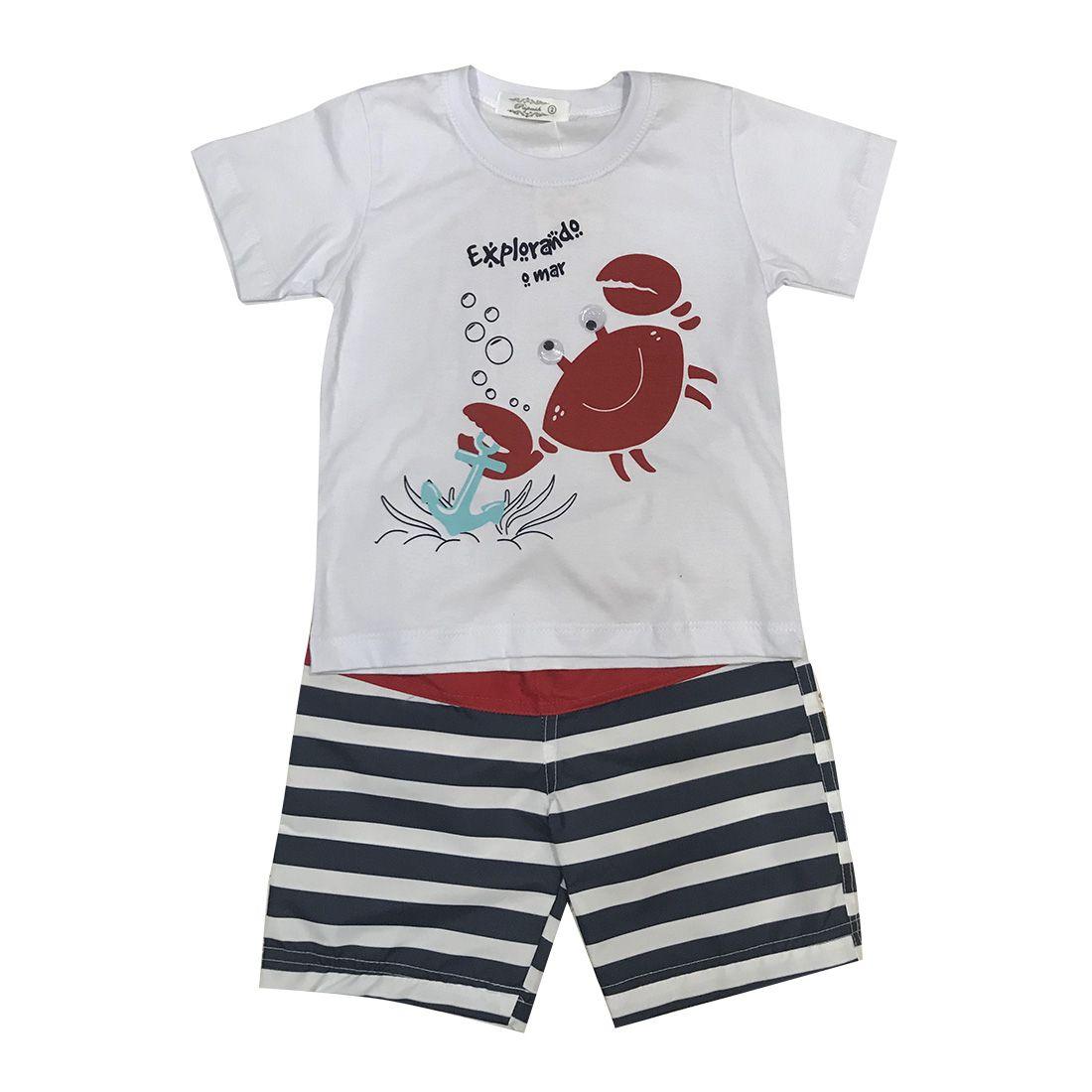 Conjunto Camiseta E Shorts - Explorando O Mar