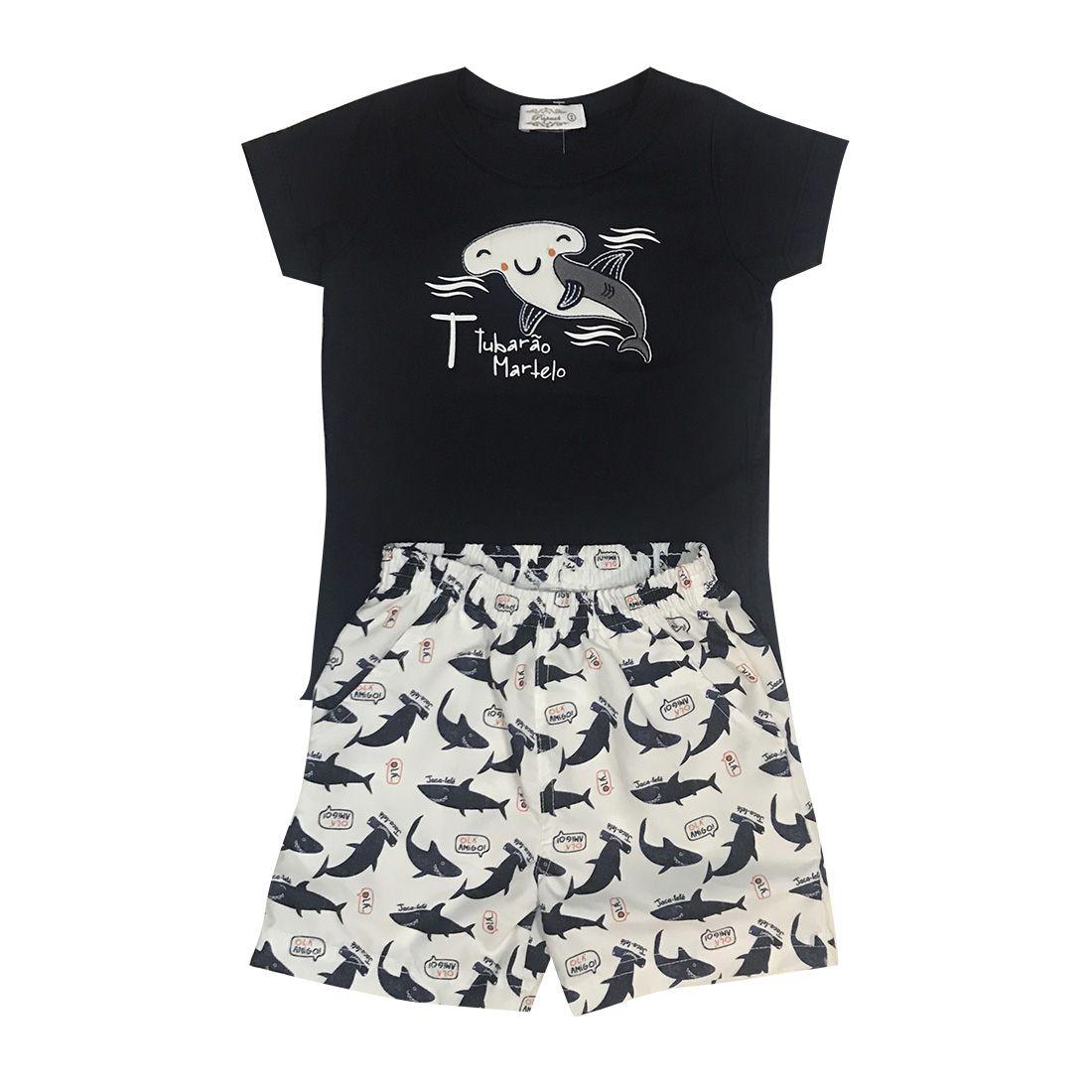 Conjunto Shorts E Camiseta Tubarão Martelo