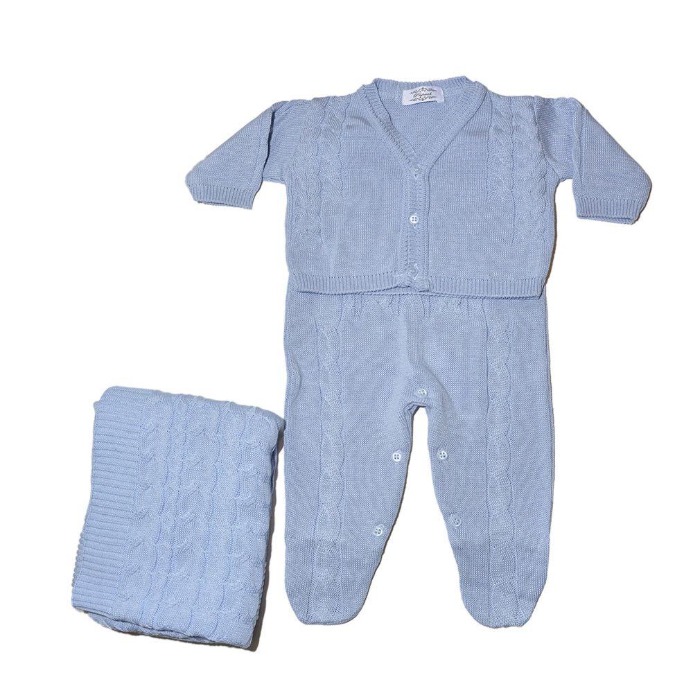 Saida Maternidade Luxo Azul Céu Bebê Menino Tricô