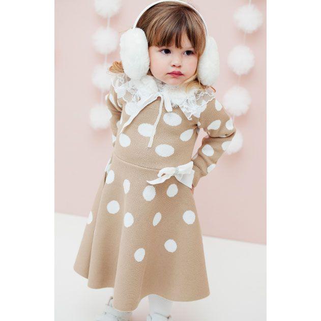 Vestido Manga Comprida Com Bolinhas Brancas