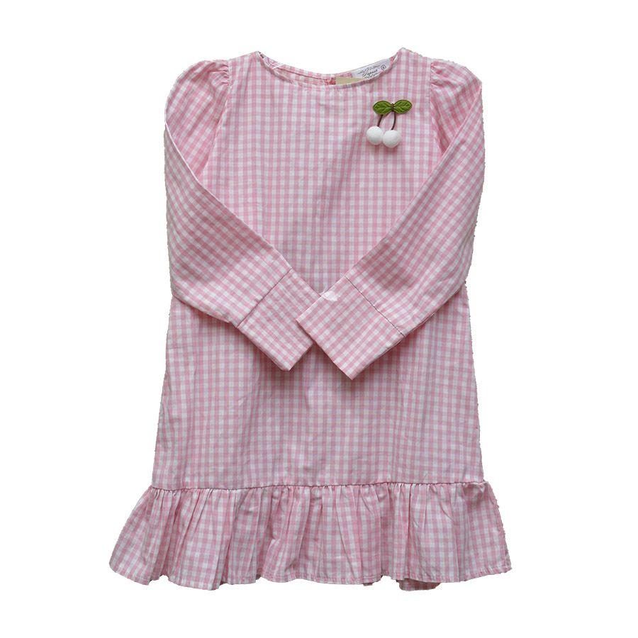 Vestido Manga Longa Xadrez Rosa