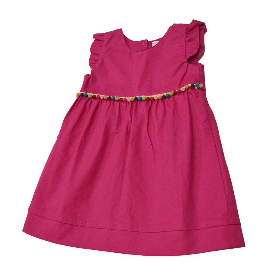 Vestido Pink com Detalhes de Bolinhas Coloridas