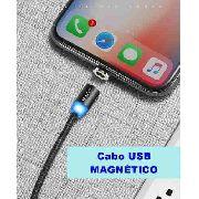 Cabo USB Magnético Lightning para iPhone e iPad em Nylon Preto