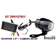 """Kit Câmera de Ré e Monitor Colorido 3,5"""" com Linhas Guias de Distância"""