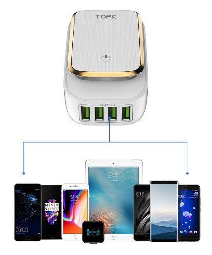 Carregador de Tomada Eletrônico 4x USB 4.4 A e Iluminação LED