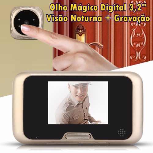 Olho Mágico Digital 3,2'' com Gravação de Vídeo e Foto