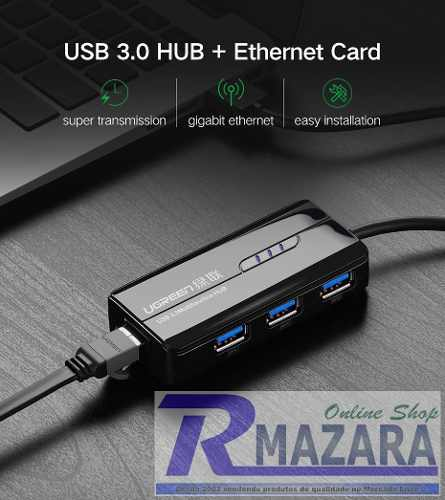 Switch Hub Usb 3.0 1000mbps 1 Gbps com 1x RJ45 e 3x USB 3.0