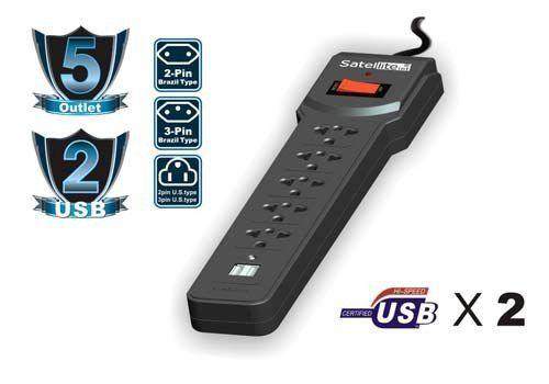 Filtro De Linha Usb Satellite A-R09 5x Tomadas + 2x USB 2.1A