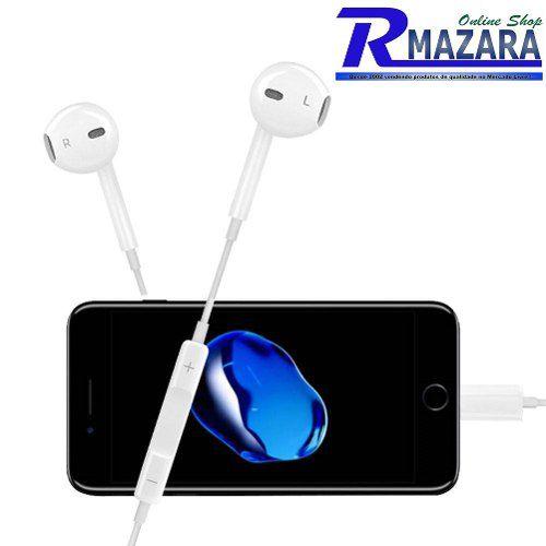 Fone De Ouvido Lightning com Fio para iPhone 7, iPhone 8, iPhone X
