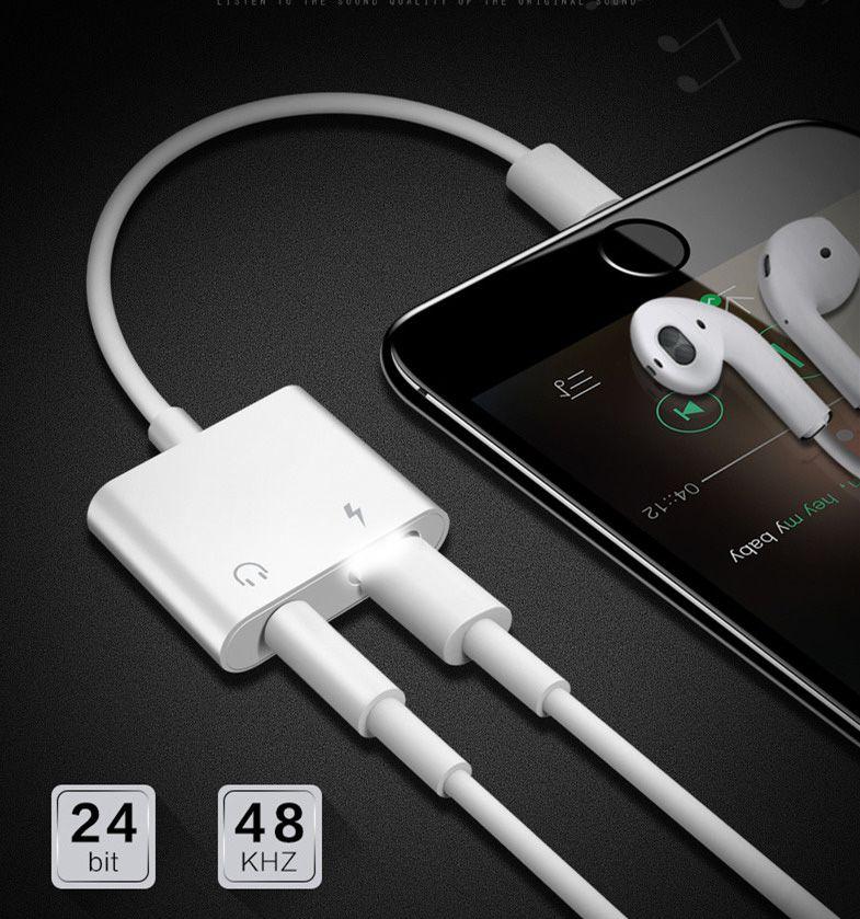 Adaptador 2 em 1 iPhone e iPad 8 pinos para Fone de Ouvido e Cabo 8 pinos