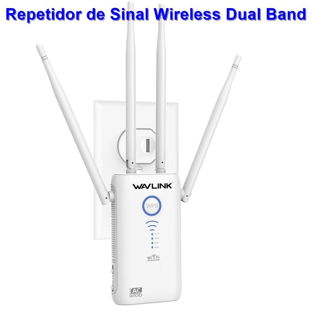 Antena Repetidora e Roteador Wi-Fi Wavlink Arieal Dual Band 2,4 / 5 Ghz AC1200