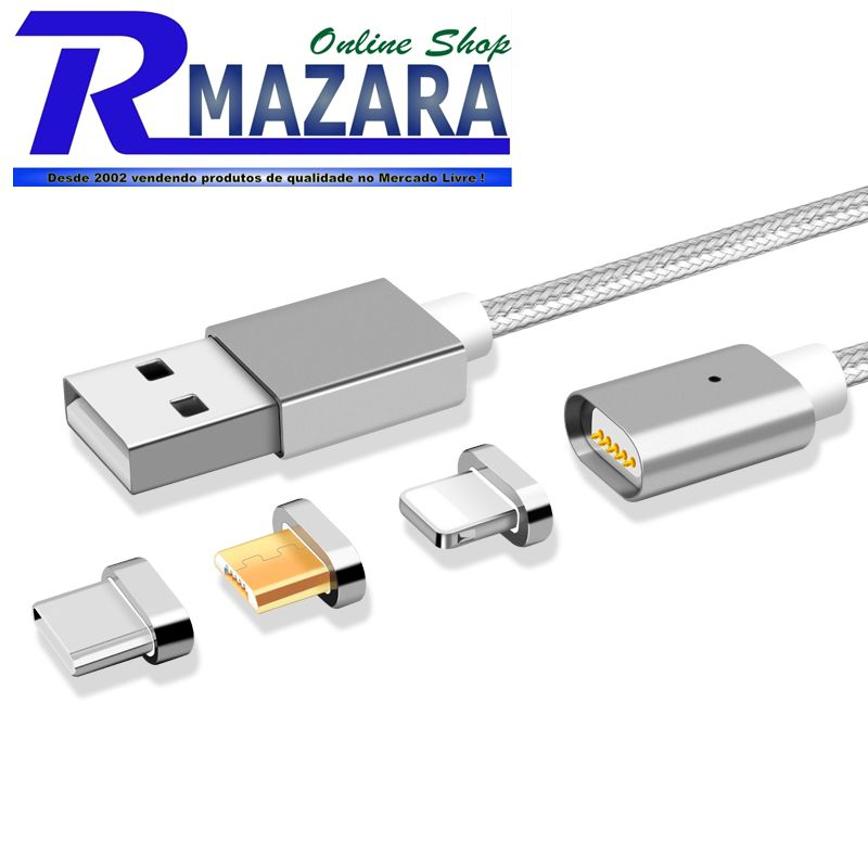 Cabo Usb Magnético Universal Para Android, Apple e Type C