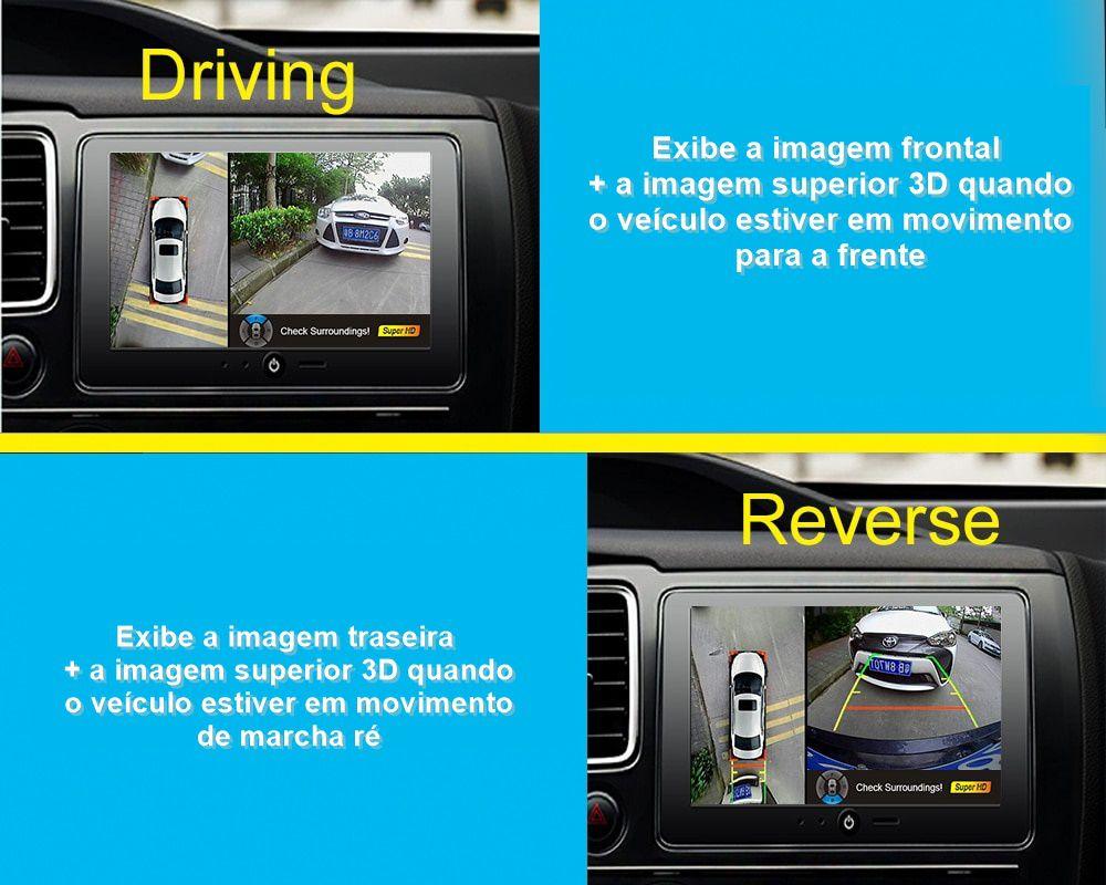 Câmera de Estacionamento 360º Parking Sensor Multi Câmera Universal