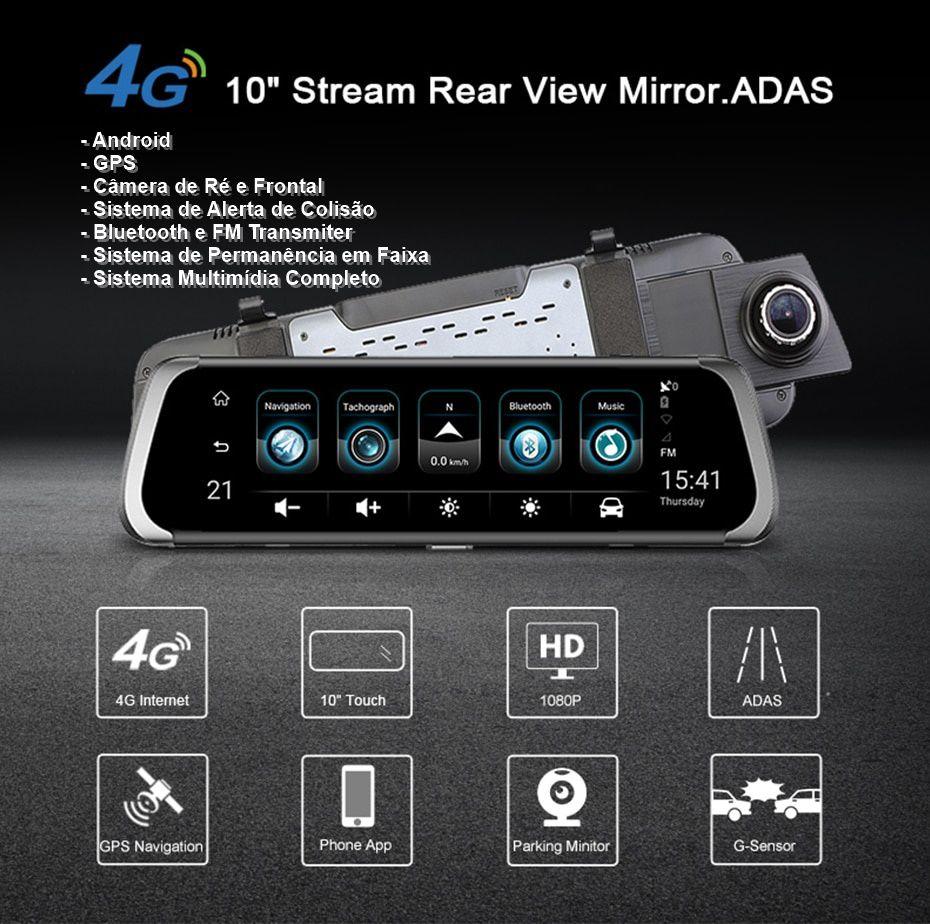 """DVR 10"""" Veicular Android GPS WiFi 4G Rastreador Câmera de Ré Alerta de Colisão e Permanência de Faixa"""
