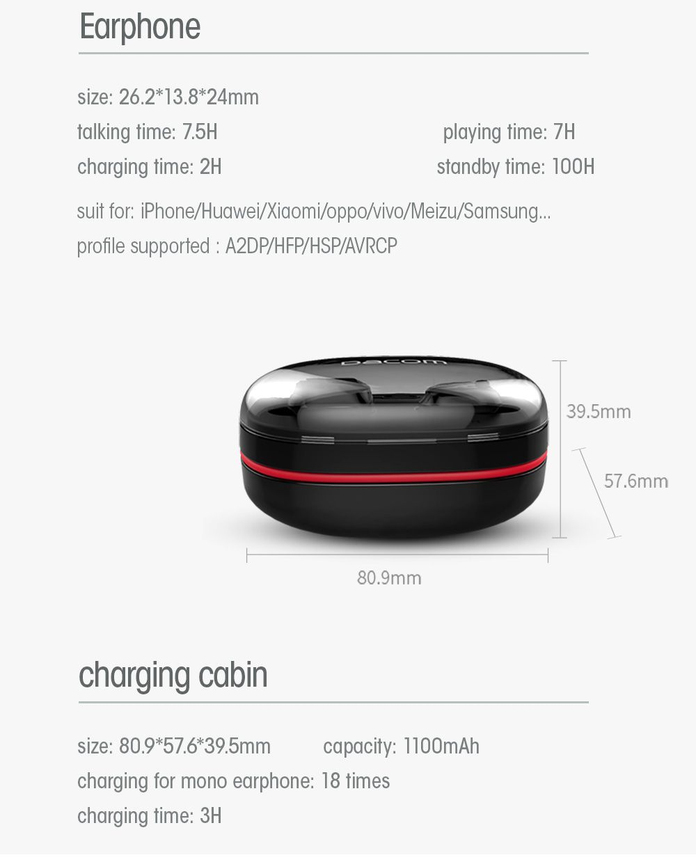 Fone de Ouvido Mini Bluetooth DACOM K6H Mini