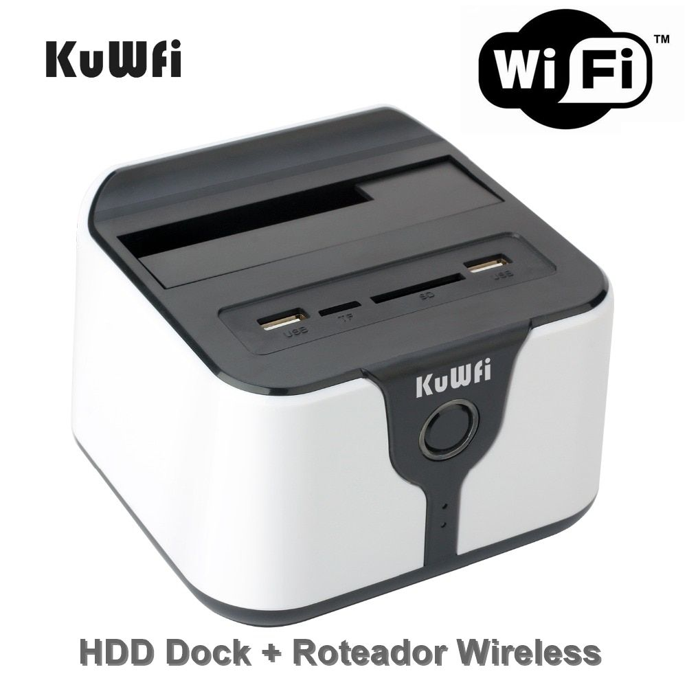 "HDD Dock e Roteador Wi-Fi USB 3.0 Docking Station Wireless 2.5""/3.5"", Leitor de Cartão e USB"