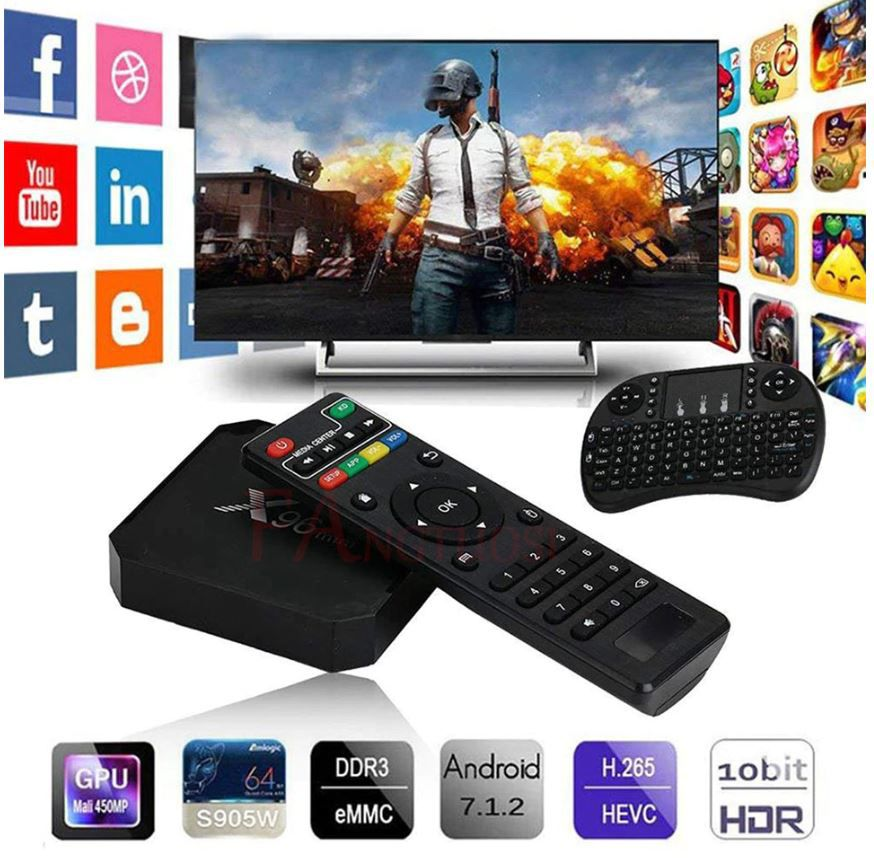 Media Player Android 7.1 IPTV X96 2GB RAM Quad Core 2.4GHz com Air Mouse