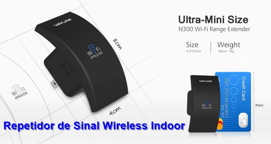 Repetidor de Sinal Wi-Fi Wavlink Indoor Wireless N300